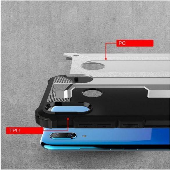 Xiaomi Redmi Note 10 / Note 10S, Műanyag hátlap védőtok, Defender, fémhatású, sötétkék