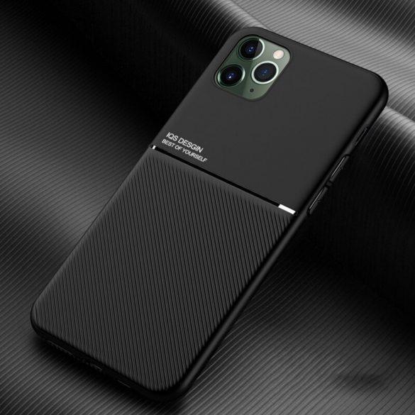 Xiaomi Redmi 9C, Szilikon tok, közepesen ütésálló, mágneses tartóval kompatibilis, karbon minta, Wooze Carbon, fekete