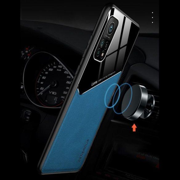 Xiaomi Redmi 9C, Szilikon tok, bőr és plexi hátlap, közepesen ütésálló, mágneses tartóval kompatibilis, Wooze Texture, kék