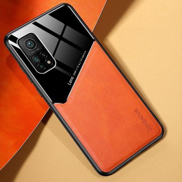 Xiaomi Redmi 9C, Szilikon tok, bőr és plexi hátlap, közepesen ütésálló, mágneses tartóval kompatibilis, Wooze Texture, narancssárga