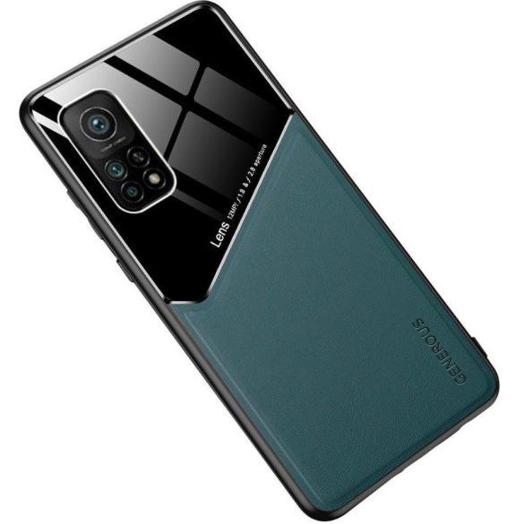 Xiaomi Redmi 9C, Szilikon tok, bőr és plexi hátlap, közepesen ütésálló, mágneses tartóval kompatibilis, Wooze Texture, zöld
