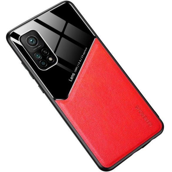 Samsung Galaxy A52 / A52 5G SM-A525F / A526B, Szilikon tok, bőr és plexi hátlap, közepesen ütésálló, mágneses tartóval kompatibilis, Wooze Texture, piros