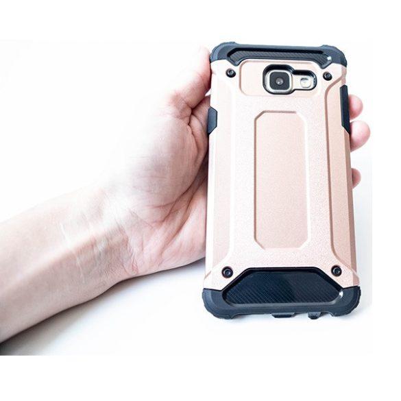 Samsung Galaxy A52 / A52 5G / A52s 5G SM-A525F / A526B / A528B, Műanyag hátlap védőtok, Defender, fémhatású, vörösarany