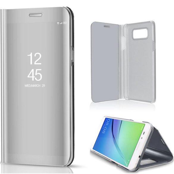 Samsung Galaxy A52 / A52 5G / A52s 5G SM-A525F / A526B / A528B, Oldalra nyíló tok, hívás mutatóval, Smart View Cover, ezüst (utángyártott)