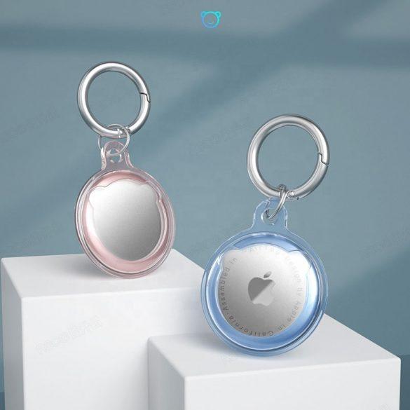 Apple AirTag szilikon tok, karabíner, Wooze AirTag Bubble, átlátszó/rózsaszín