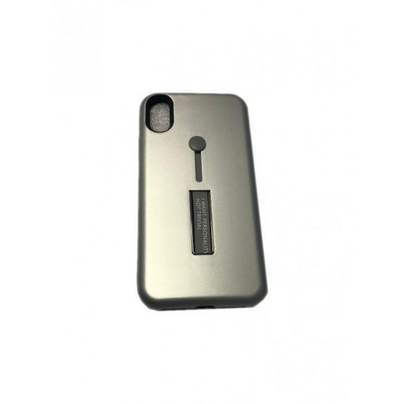 Apple iPhone X / XS, TPU szilikon tok, műanyag kerettel, közepesen ütésálló, kitámasztóval, Brace, ezüst