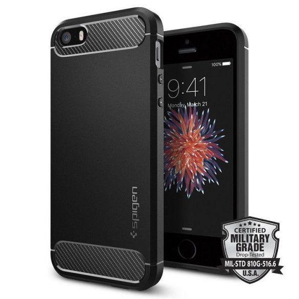 Apple iPhone 5 / 5S / SE, TPU szilikon tok, Spigen Rugged Armor, karbon minta, fekete