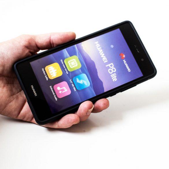 Apple iPhone 7 / 8, TPU szilikon tok, Spigen Rugged Armor, karbon minta, fekete
