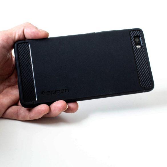 Apple iPhone XR, TPU szilikon tok, Spigen Rugged Armor, karbon minta, fekete