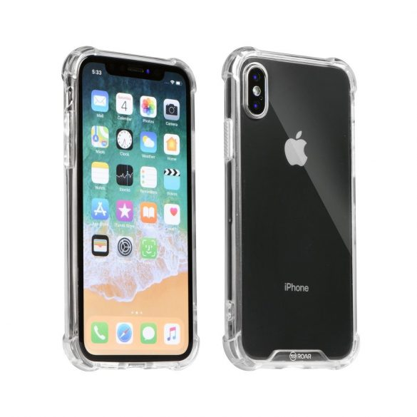 Apple iPhone XR, TPU szilikon védőkeret, akril hátlap, közepesen ütésálló, Armor Jelly Case, Roar, átlátszó