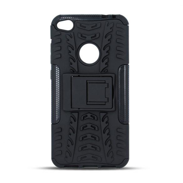 Apple iPhone 5 / 5S / SE, Műanyag hátlap védőtok, Defender, kitámasztóval és szilikon belsővel, autógumi minta, fekete