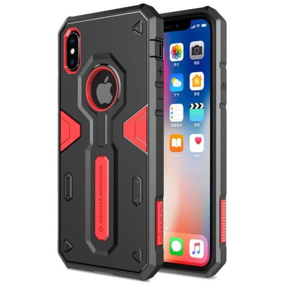Apple iPhone X / XS, Műanyag hátlap védőtok, Nillkin Defender II., ütésálló, piros/fekete
