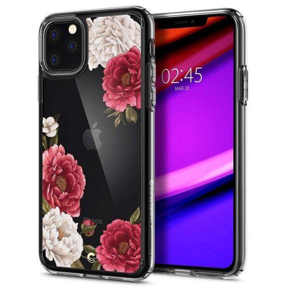 Apple iPhone 11 Pro Max, TPU szilikon tok, légpárnás sarok, bazsarózsa minta, Spigen Ciel, átlátszó/színes