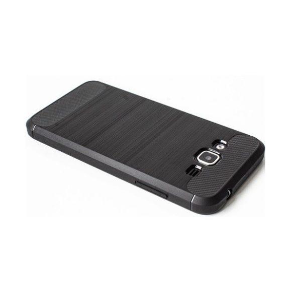 Apple iPhone 8 / SE (2020), TPU szilikon tok, közepesen ütésálló, szálcsiszolt, karbon minta, fekete