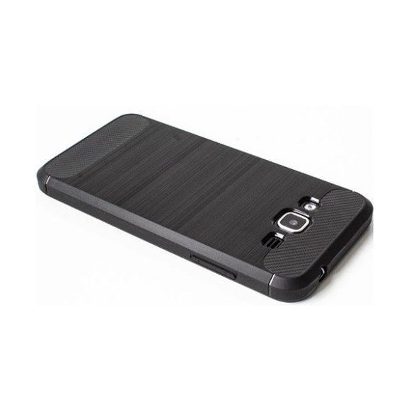 LG K52 / K62, Szilikon tok, közepesen ütésálló, szálcsiszolt, karbon minta, fekete