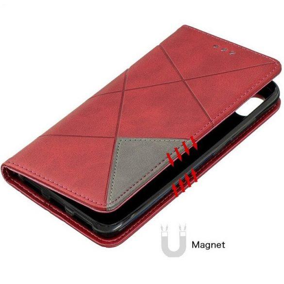 Xiaomi Redmi 9C, Oldalra nyíló tok, stand, geometria minta, Wooze DesignBook, piros