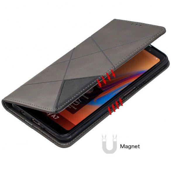 Xiaomi Redmi 9C, Oldalra nyíló tok, stand, geometria minta, Wooze DesignBook, szürke