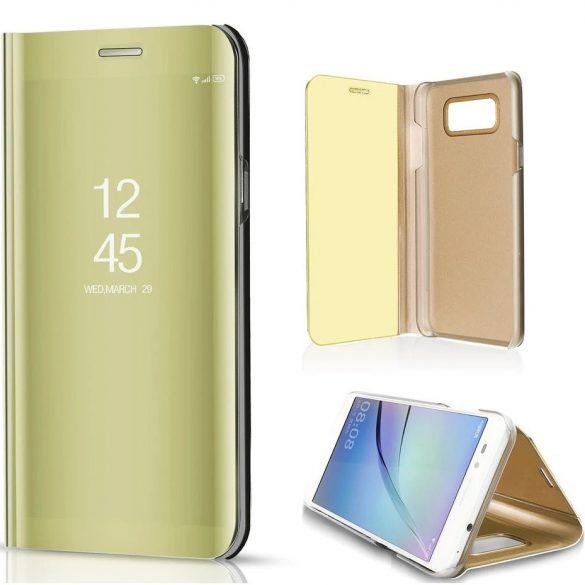 LG K52 / K62, Oldalra nyíló tok, hívás mutatóval, Smart View Cover, arany (utángyártott)