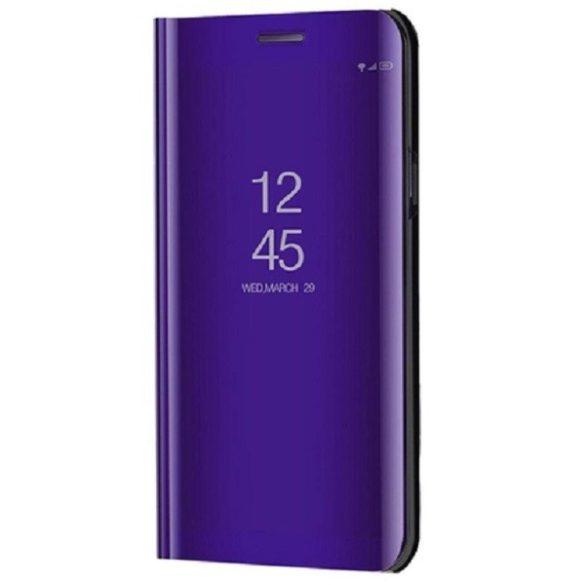 LG K52 / K62, Oldalra nyíló tok, hívás mutatóval, Smart View Cover, lila (utángyártott)