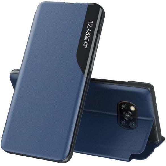 Xiaomi Redmi 9C, Oldalra nyíló tok, stand, hívás mutatóval, Wooze FashionBook, kék