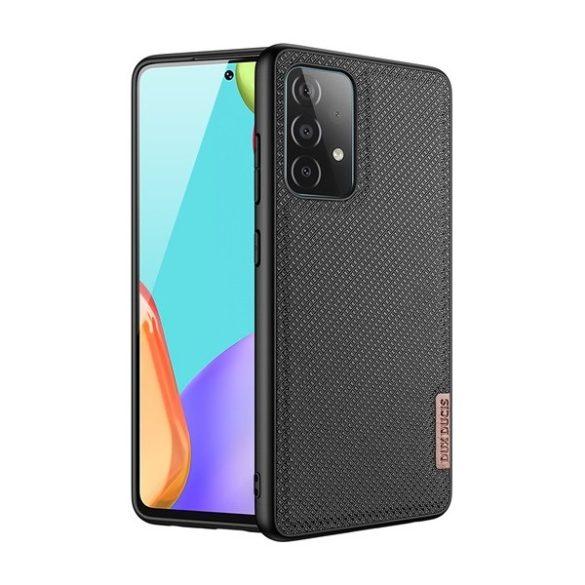 Samsung Galaxy A52 / A52 5G / A52s 5G SM-A525F / A526B / A528B, Műanyag hátlap védőtok + szilikon keret, fényvisszaverő szövet hátlap, rács minta, Dux Ducis Fino, fekete