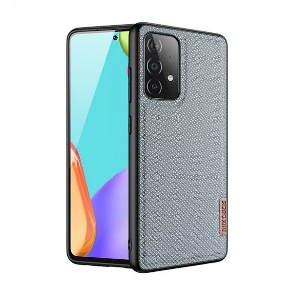 Samsung Galaxy A52 / A52 5G / A52s 5G SM-A525F / A526B / A528B, Műanyag hátlap védőtok + szilikon keret, fényvisszaverő szövet hátlap, rács minta, Dux Ducis Fino, kék