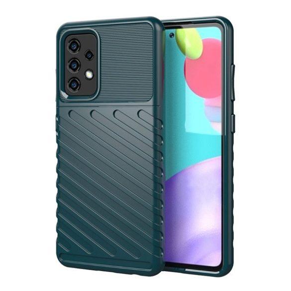 Samsung Galaxy A52 / A52 5G SM-A525F / A526B, Szilikon tok, közepesen ütésálló, domború csíkos minta, zöld