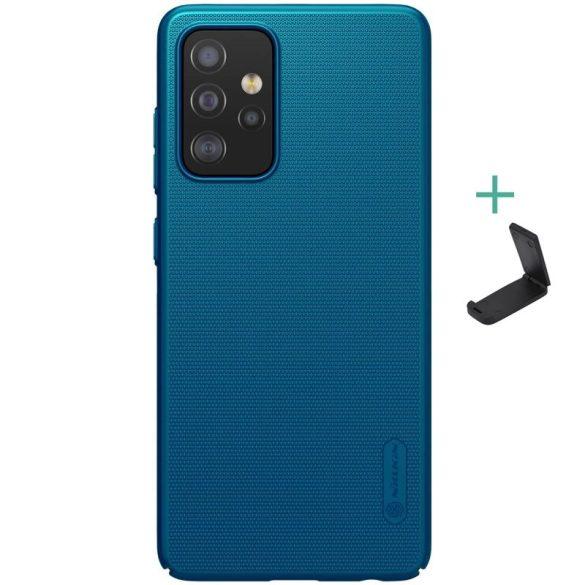 Samsung Galaxy A52 / A52 5G SM-A525F / A526B, Műanyag hátlap védőtok, stand, Nillkin Super Frosted, zöldes-kék