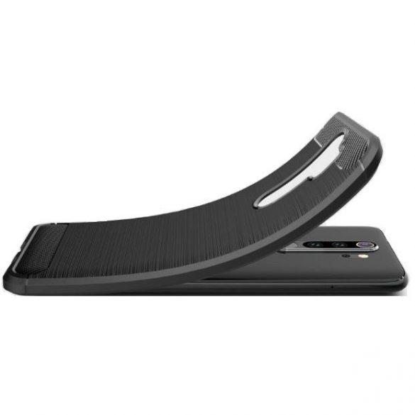 Realme 7, Szilikon tok, közepesen ütésálló, szálcsiszolt, karbon minta, fekete