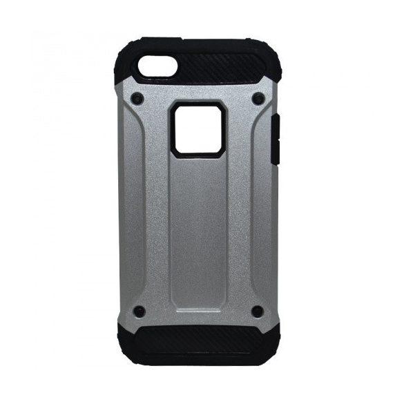 Apple iPhone 5 / 5S / SE, Műanyag hátlap védőtok, Defender, fémhatású, ezüst