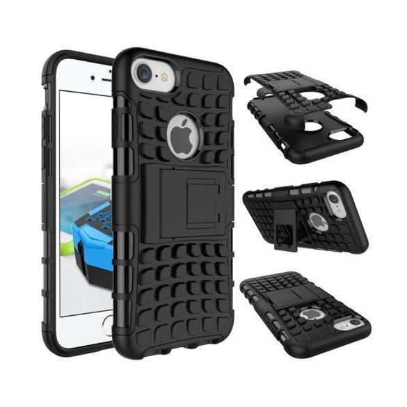 Apple iPhone 7 / 8 / SE (2020), Műanyag hátlap védőtok, Defender, kitámasztóval és szilikon belsővel, autógumi minta, fekete