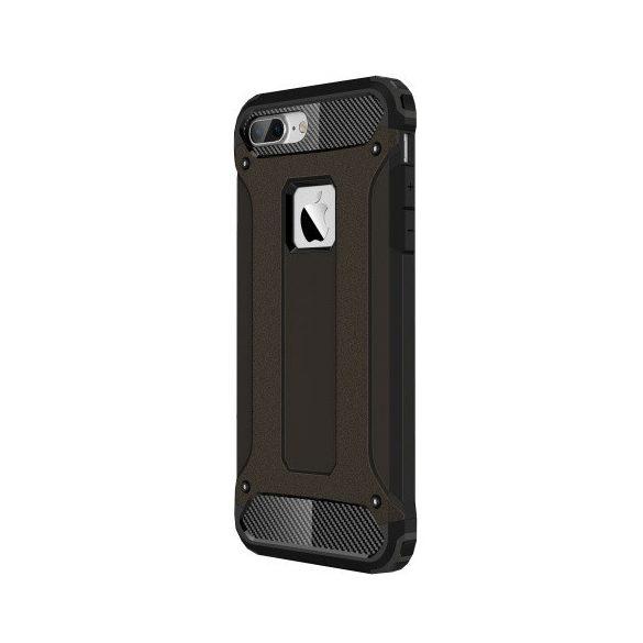 Apple iPhone 7, Műanyag hátlap védőtok, Defender, fémhatású, fekete