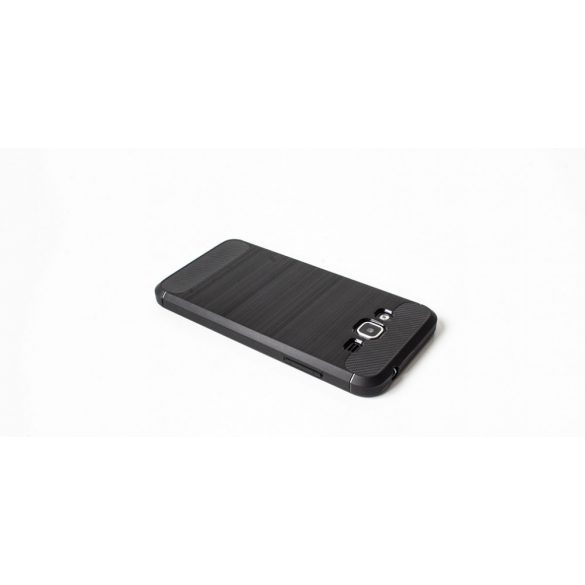 Apple iPhone 6 / 6S, TPU szilikon tok, közepesen ütésálló, szálcsiszolt, karbon minta, fekete