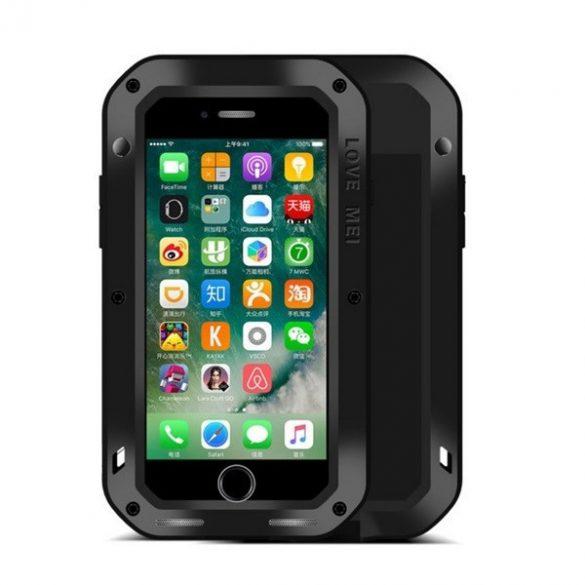 Apple iPhone 7 / 8 / SE (2020), TPU szilikon tok, Love Mei Powerful Defender, ütésálló, fekete