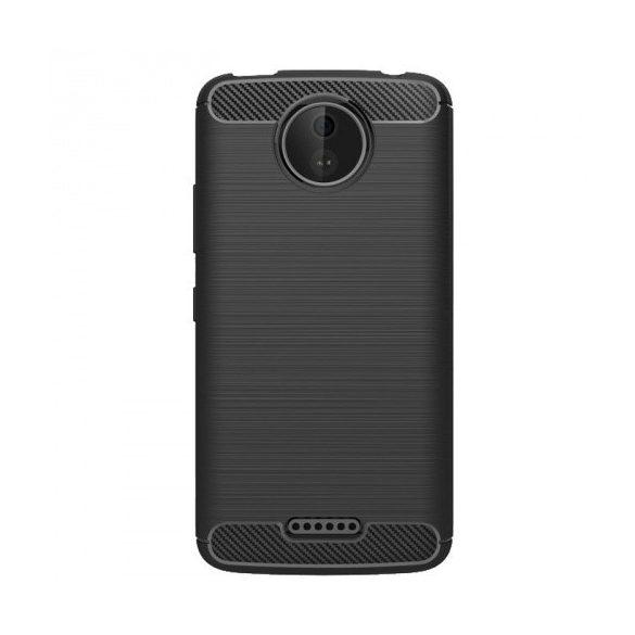 Motorola Moto C, TPU szilikon tok, közepesen ütésálló, szálcsiszolt, karbon minta, fekete