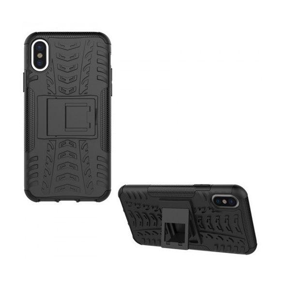 Apple iPhone X / XS, Műanyag hátlap védőtok, Defender, kitámasztóval és szilikon belsővel, autógumi minta, fekete