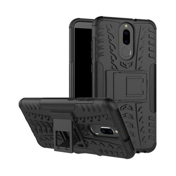 Huawei Mate 10 Lite, Műanyag hátlap védőtok, Defender, kitámasztóval és szilikon belsővel, autógumi minta, fekete