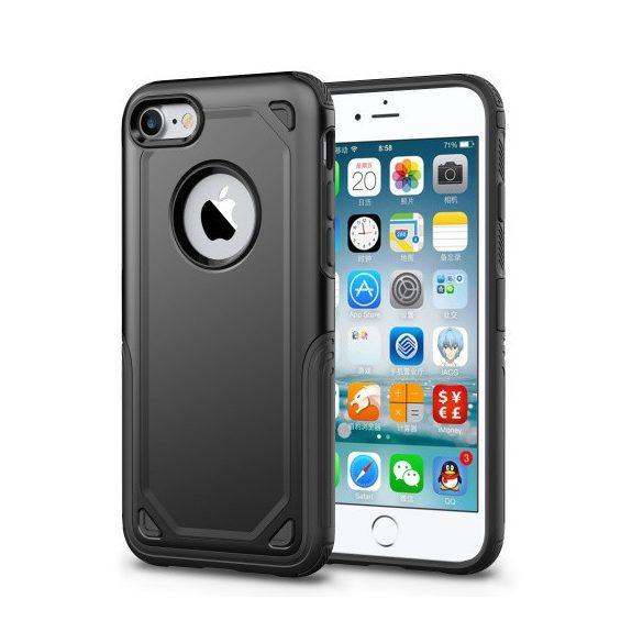 Apple iPhone 6 / 6S, Műanyag hátlap védőtok, Defender, közepesen ütésálló, szilikon belsővel, fekete/szürke