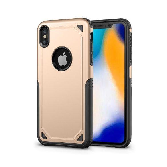 Apple iPhone XR, Műanyag hátlap védőtok, Defender, közepesen ütésálló, szilikon belsővel, arany/szürke