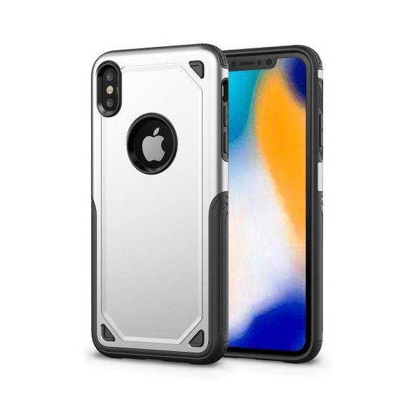 Apple iPhone XR, Műanyag hátlap védőtok, Defender, közepesen ütésálló, szilikon belsővel, ezüst/szürke