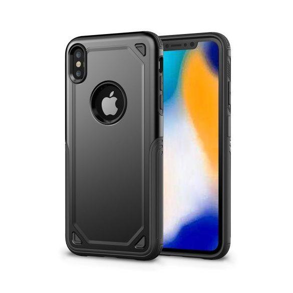 Apple iPhone XR, Műanyag hátlap védőtok, Defender, közepesen ütésálló, szilikon belsővel, fekete/szürke