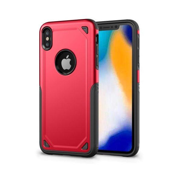 Apple iPhone XR, Műanyag hátlap védőtok, Defender, közepesen ütésálló, szilikon belsővel, piros/szürke