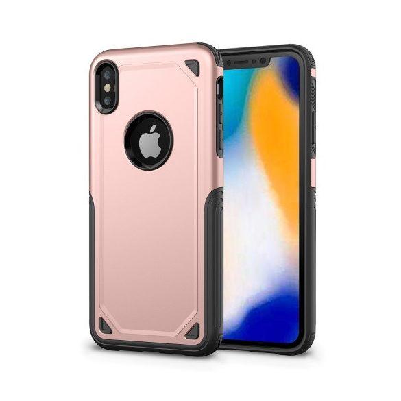 Apple iPhone XR, Műanyag hátlap védőtok, Defender, közepesen ütésálló, szilikon belsővel, vörösarany/szürke