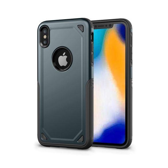 Apple iPhone XR, Műanyag hátlap védőtok, Defender, közepesen ütésálló, szilikon belsővel, sötétkék/szürke