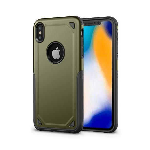 Apple iPhone XR, Műanyag hátlap védőtok, Defender, közepesen ütésálló, szilikon belsővel, zöld/szürke
