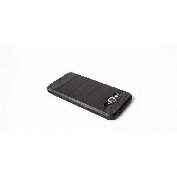 Apple iPhone XR, TPU szilikon tok, közepesen ütésálló, szálcsiszolt, karbon minta, fekete