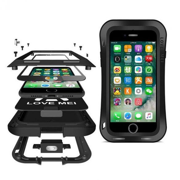 Apple iPhone 7 / 8 / SE (2020), TPU szilikon tok, Love Mei Powerful Small Waist Defender, ütésálló, fekete