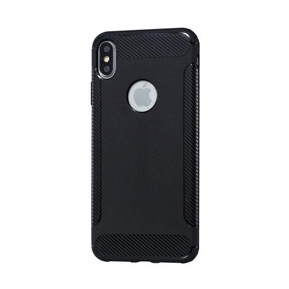 Apple iPhone X / XS, TPU szilikon tok, közepesen ütésálló, légpárnás sarok, karbon minta, logo kivágással, fekete