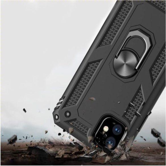 Apple iPhone XR, Műanyag hátlap védőtok, közepesen ütésálló, szilikon belső, telefontartó gyűrű, Defender, fekete
