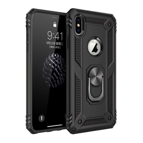 Apple iPhone X / XS, Műanyag hátlap védőtok, közepesen ütésálló, szilikon belső, telefontartó gyűrű, Defender, fekete